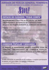 punto de cuidados huelga feminista 8M
